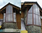 Алюминиевый витраж в фасаде деревянного дома фото 2