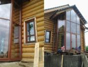 Алюминиевый витраж в фасаде деревянного дома фото 3